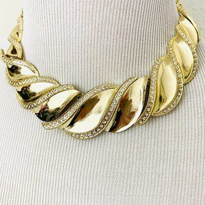Vintage 1980s Gold and Rhinestone Wave Necklace